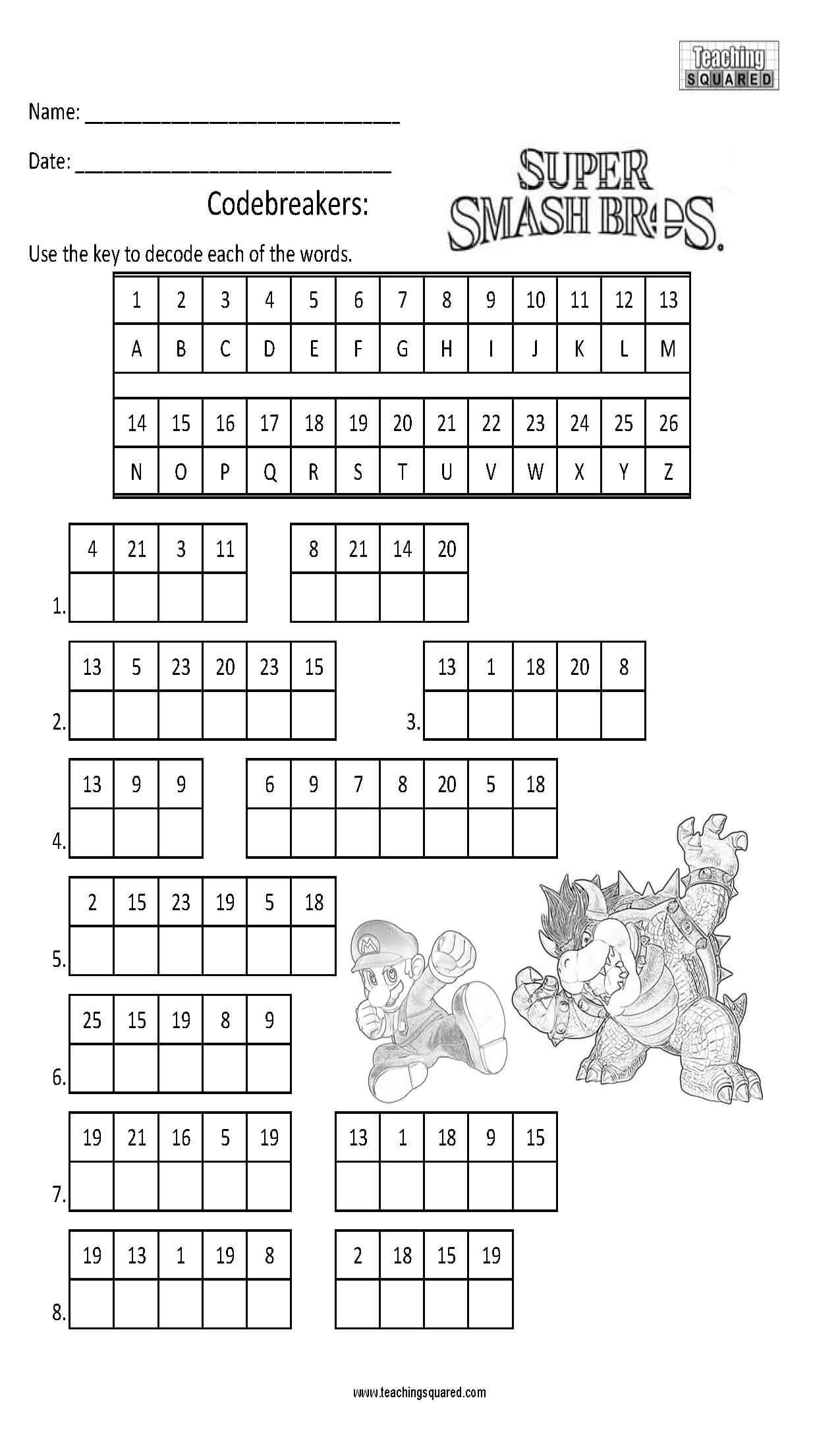 Math Secret Code Worksheets Codebreaker Characters Teaching Squared