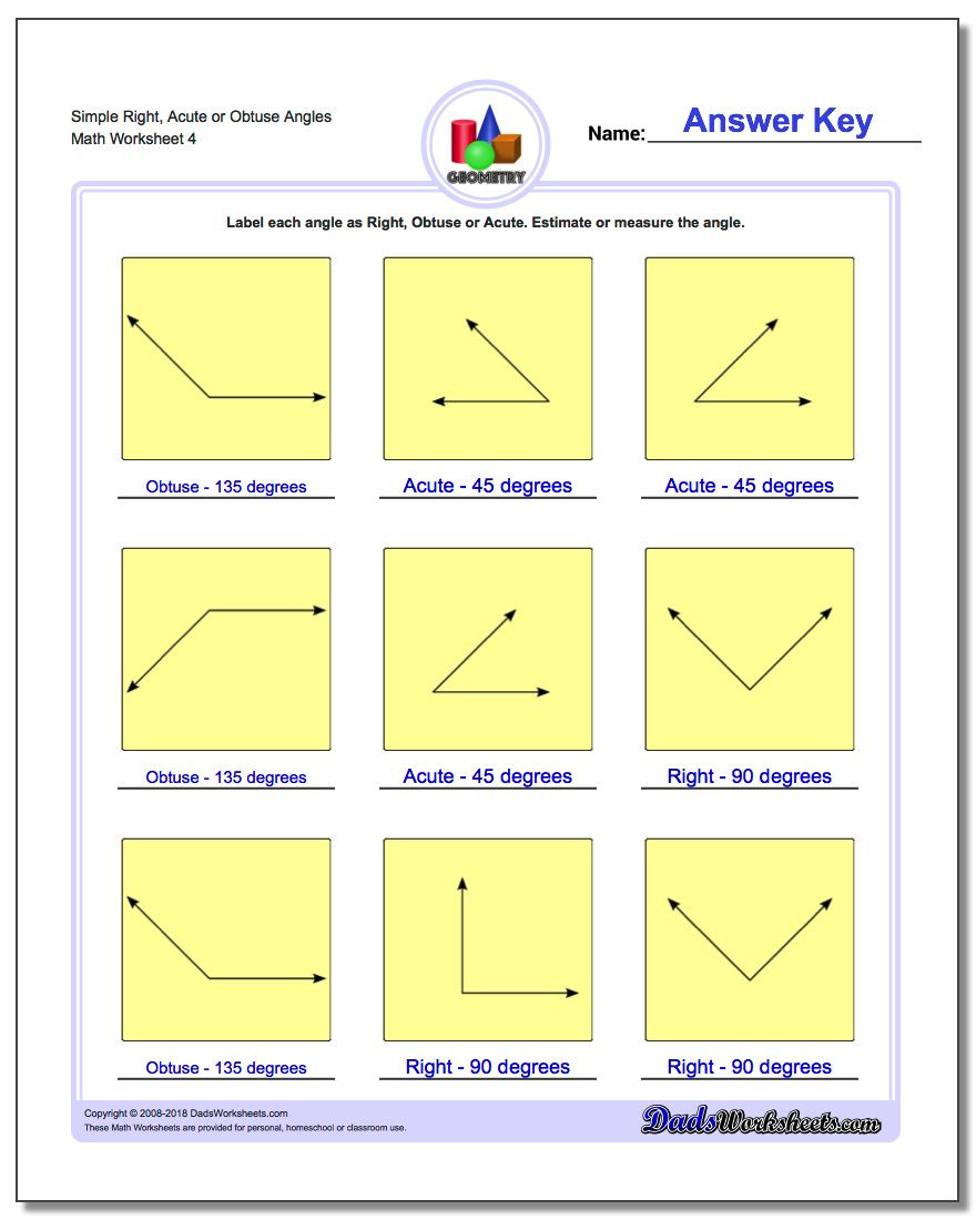 Measurement Worksheet 3rd Grade Angles Right Obtuse Acute
