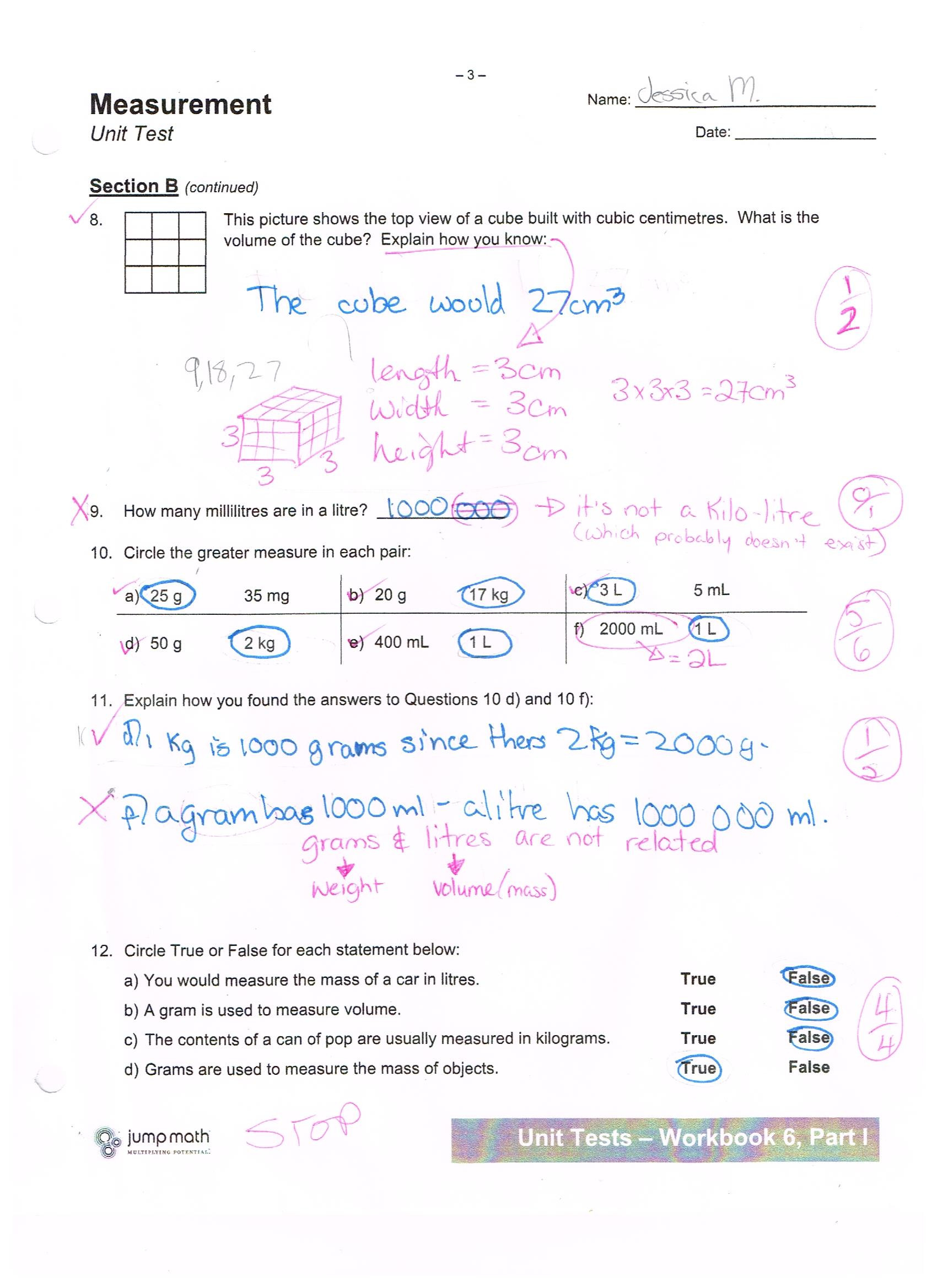 Measurement Worksheet Grade 3 Jump Math Measurement Unit Test Jessica School Work Projects