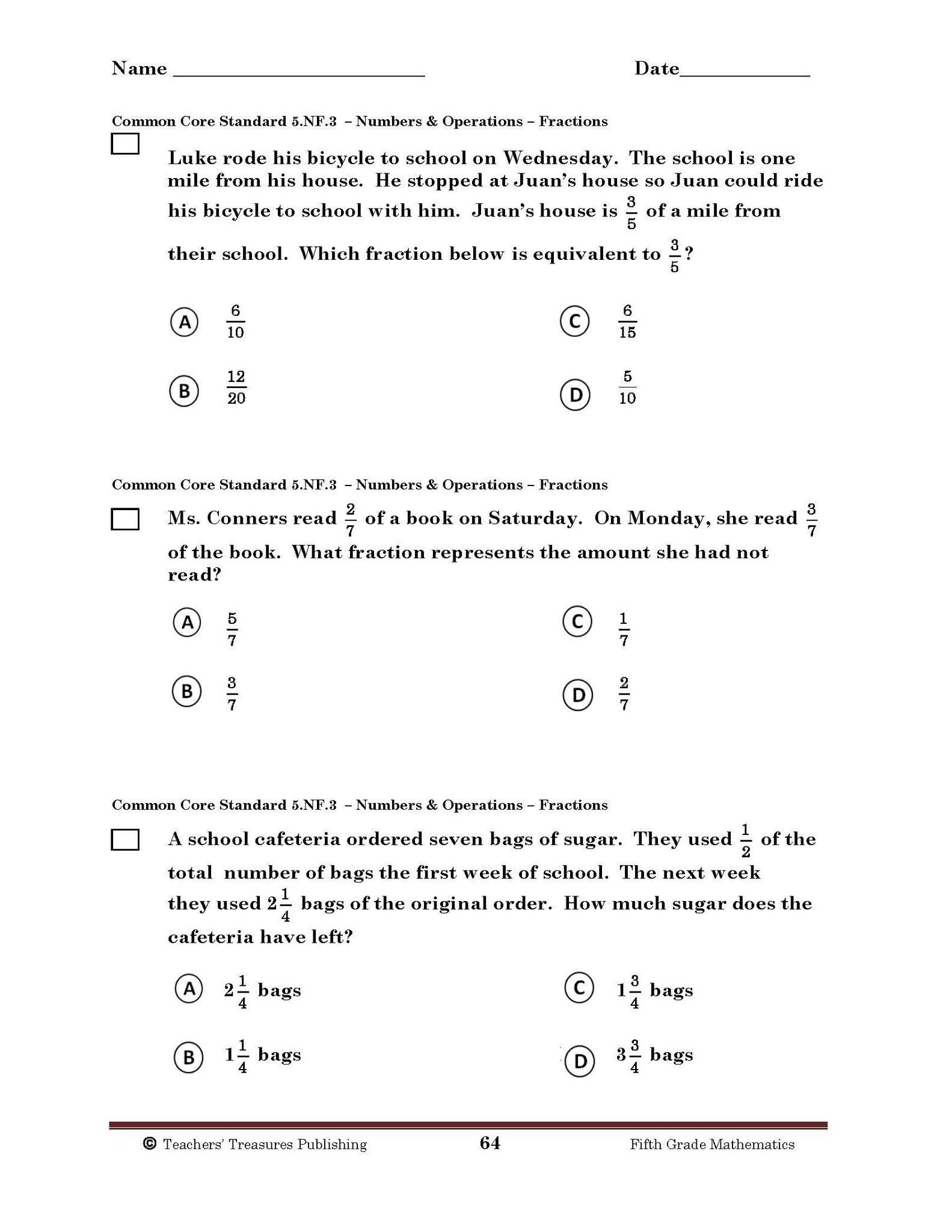 Measurement Worksheets 5th Grade 5th Grade Printable Math Test