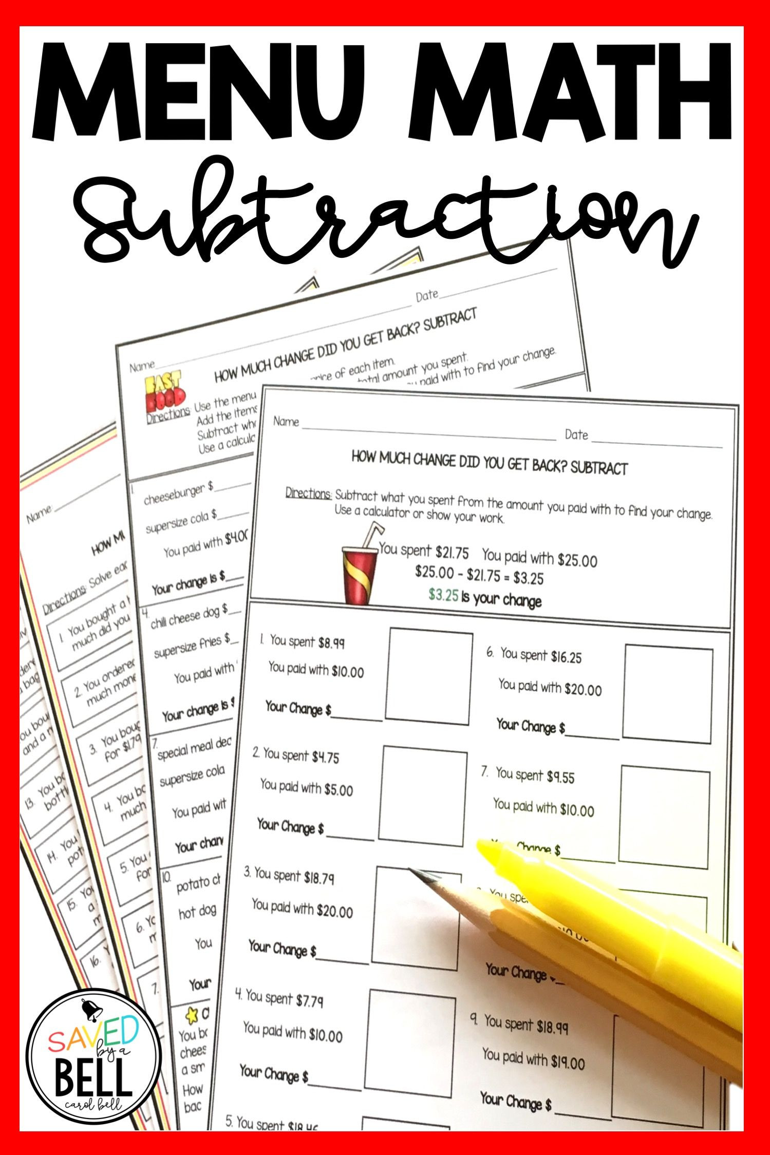 Menu Math Worksheets Printable Subtraction Money Worksheets and Word Problems Menu Math