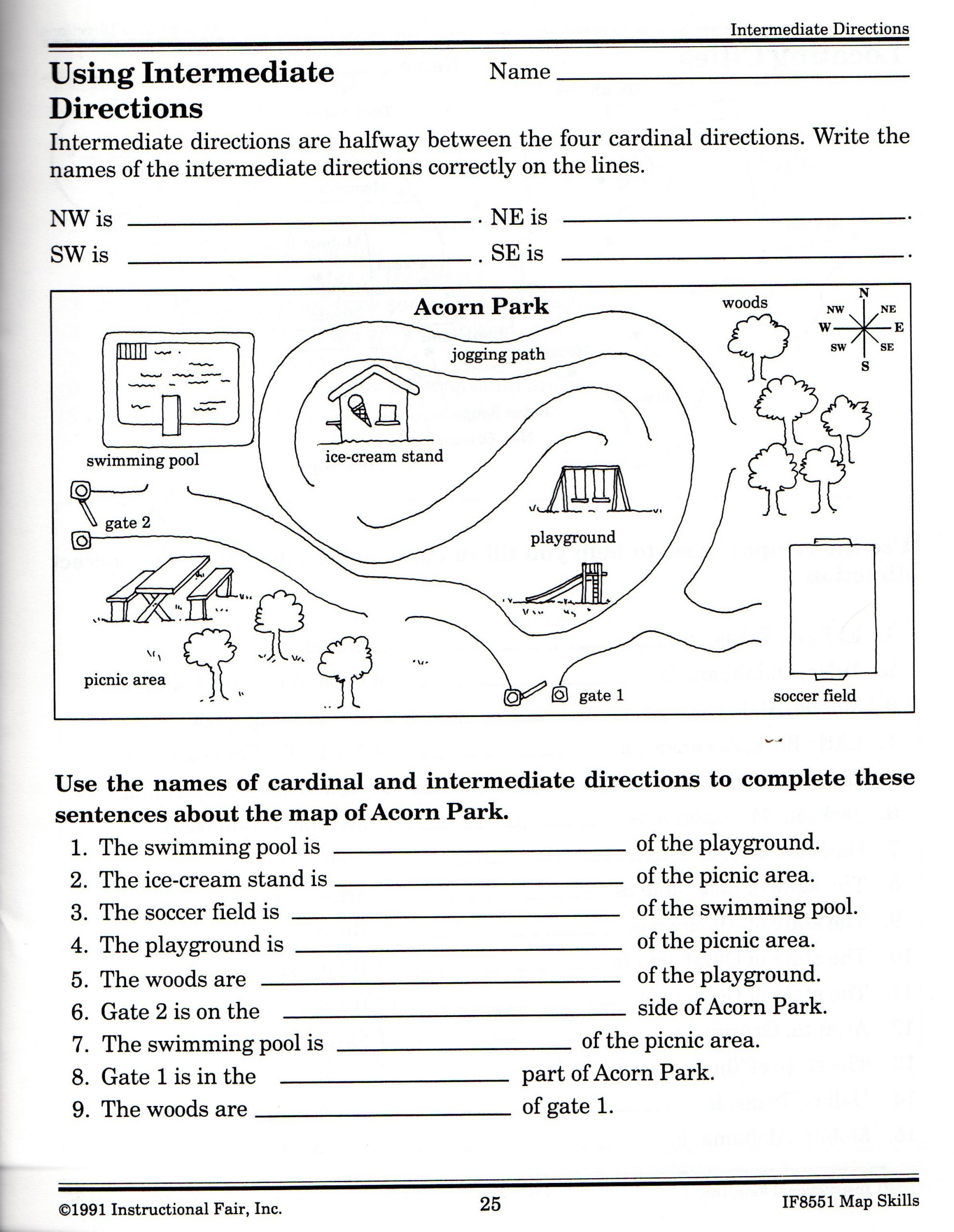 Middle School Map Skills Worksheets Intermediate Directions Worksheet
