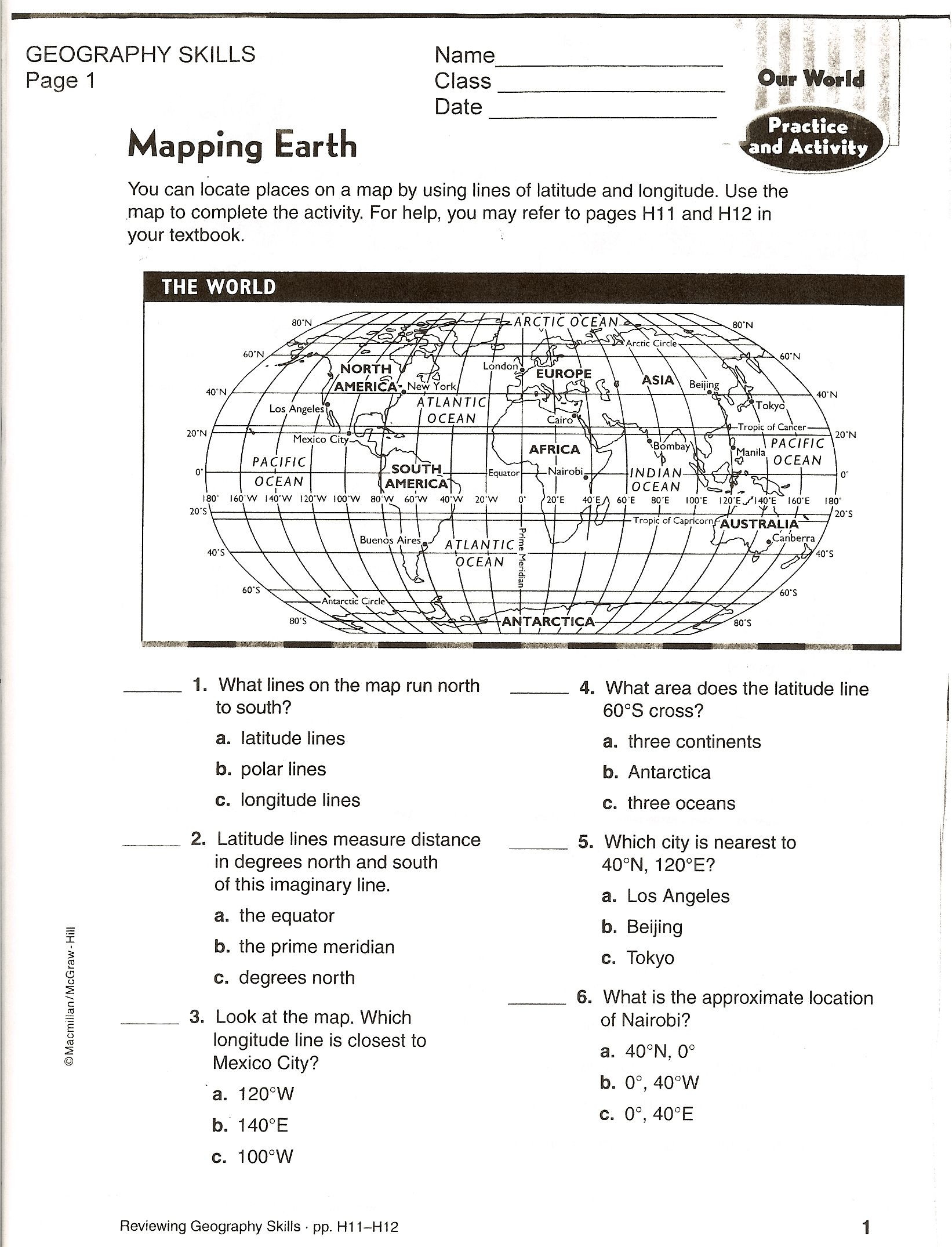 Middle School Map Skills Worksheets social Stu S Maps Worksheets