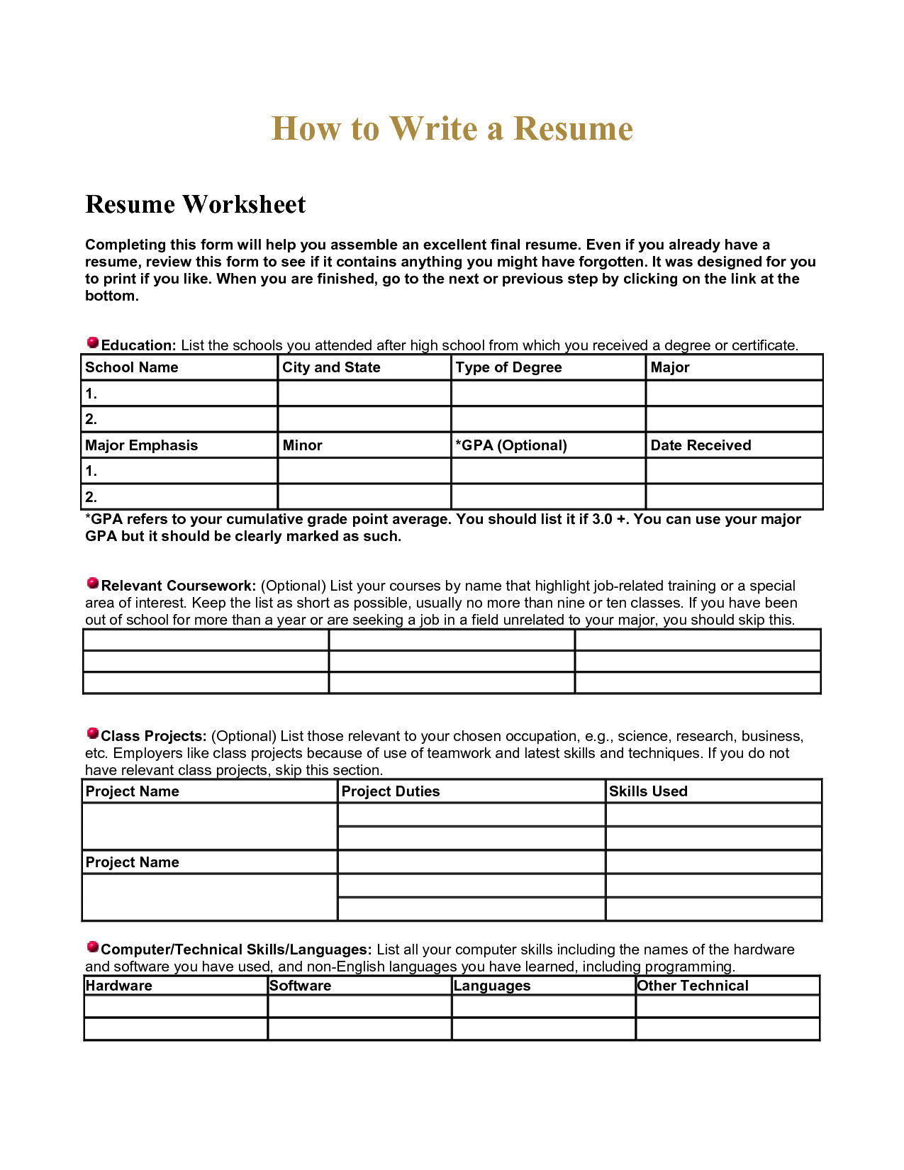 Middle School Resume Worksheet soil Worksheets for High School