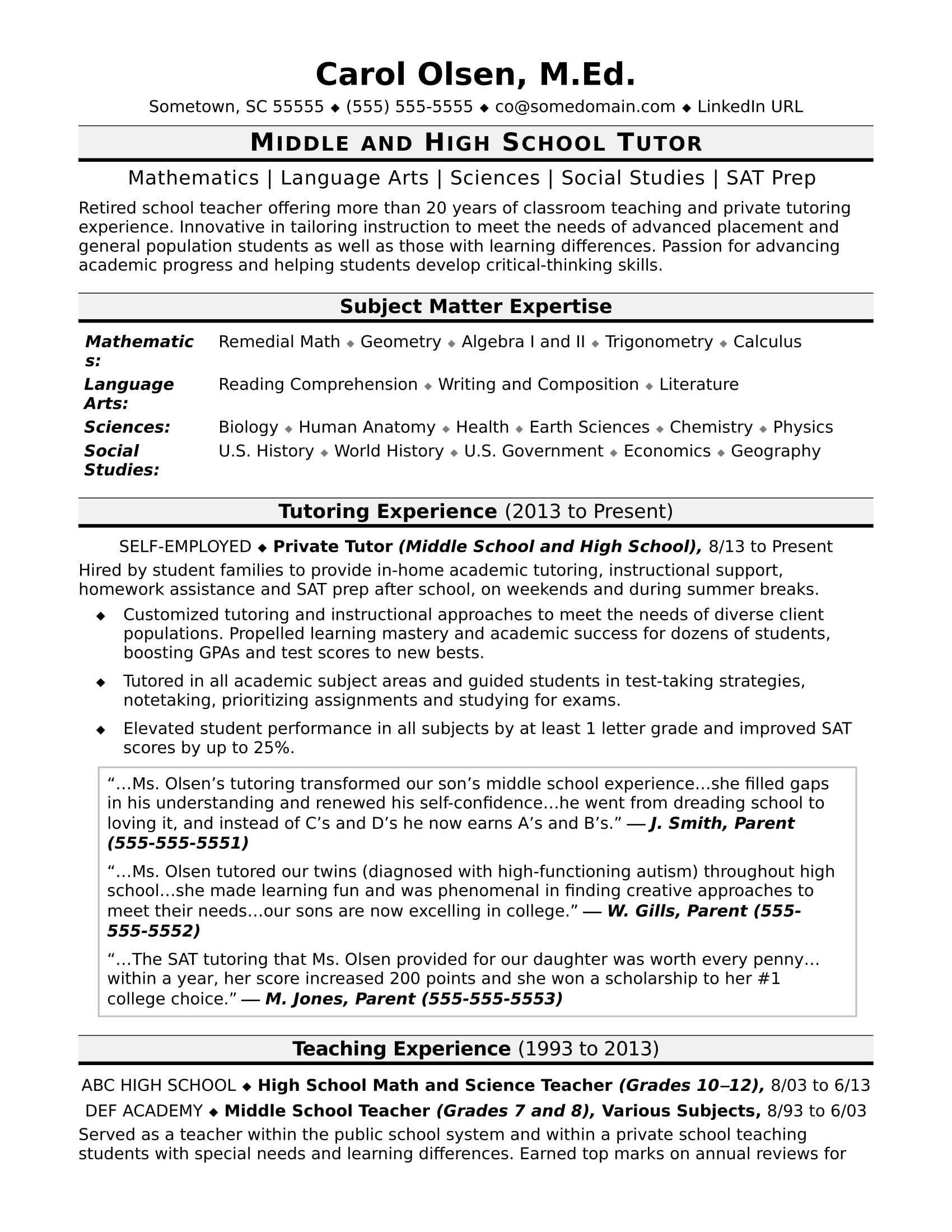 Middle School Resume Worksheet Tutor Resume Sample