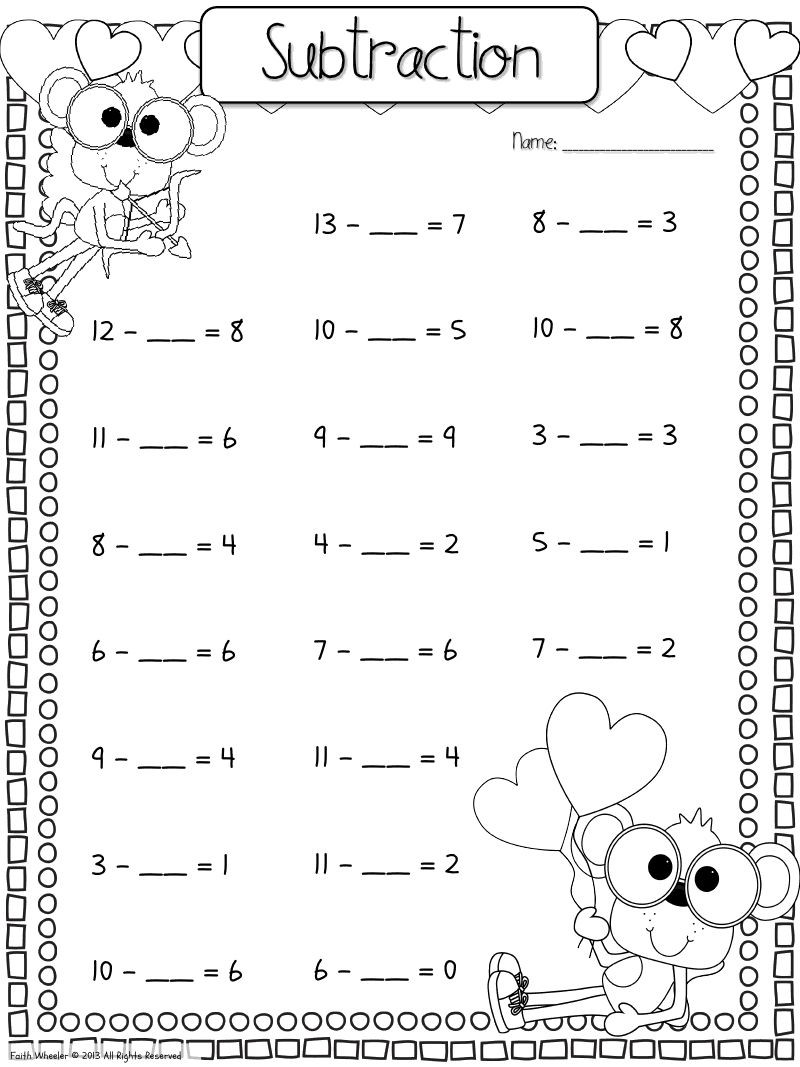 Missing Addend Worksheets First Grade Find the Missing Addend Worksheet Download