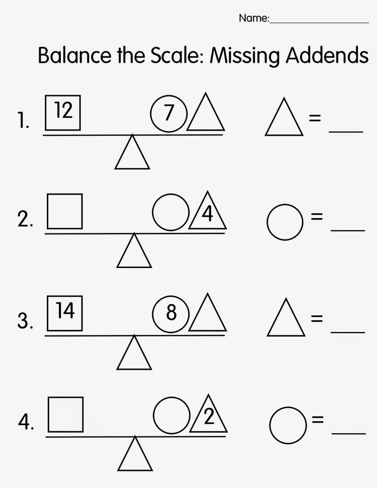 Missing Addend Worksheets First Grade Mrs T S First Grade Class Balance the Scale Missing Addends