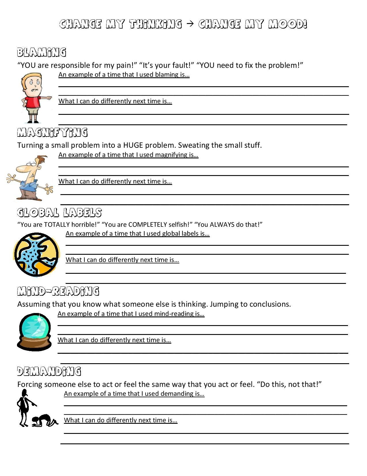Mood Worksheets for Middle School Anger Management Worksheet