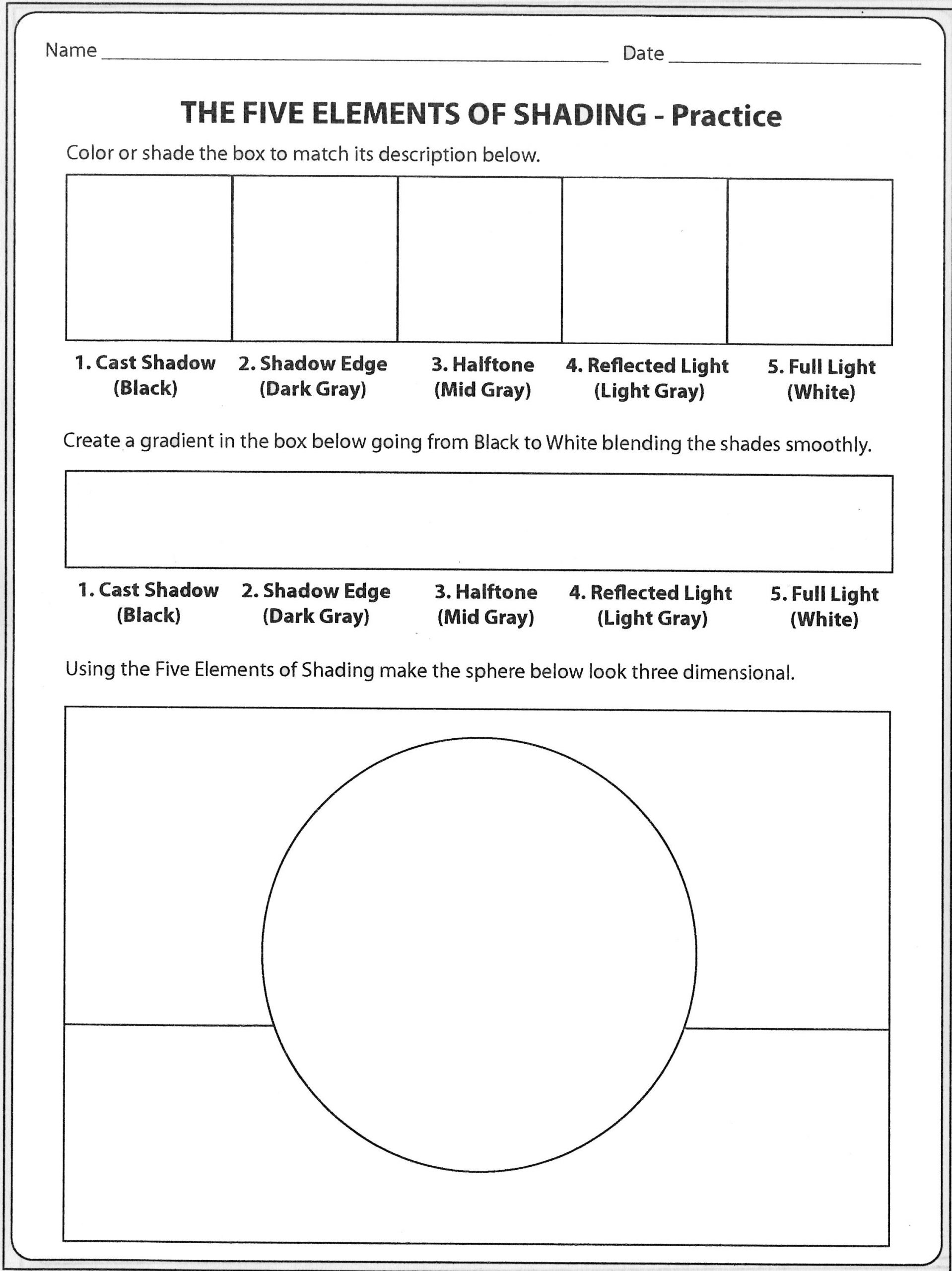 Mood Worksheets for Middle School formshading Practicesheet Pt1 2256—3011