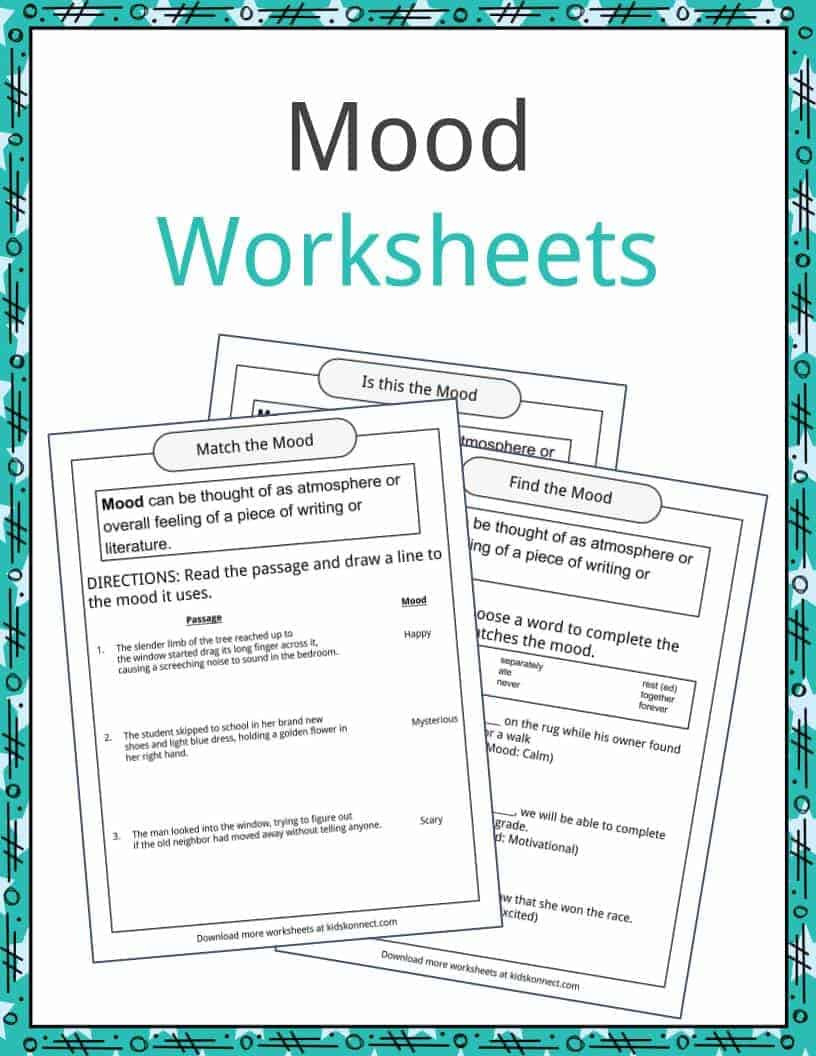 Mood Worksheets for Middle School Mood Examples Definition and Worksheets