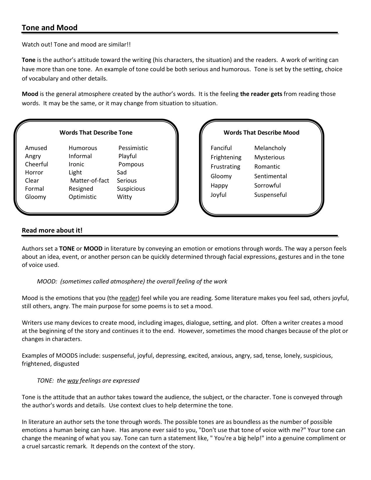 Mood Worksheets for Middle School tone and Mood Worksheets Google Search