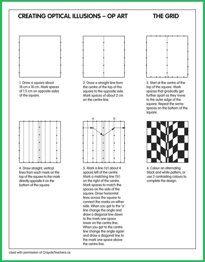 Optical Illusion Worksheets Printable Optical Illusions Grid
