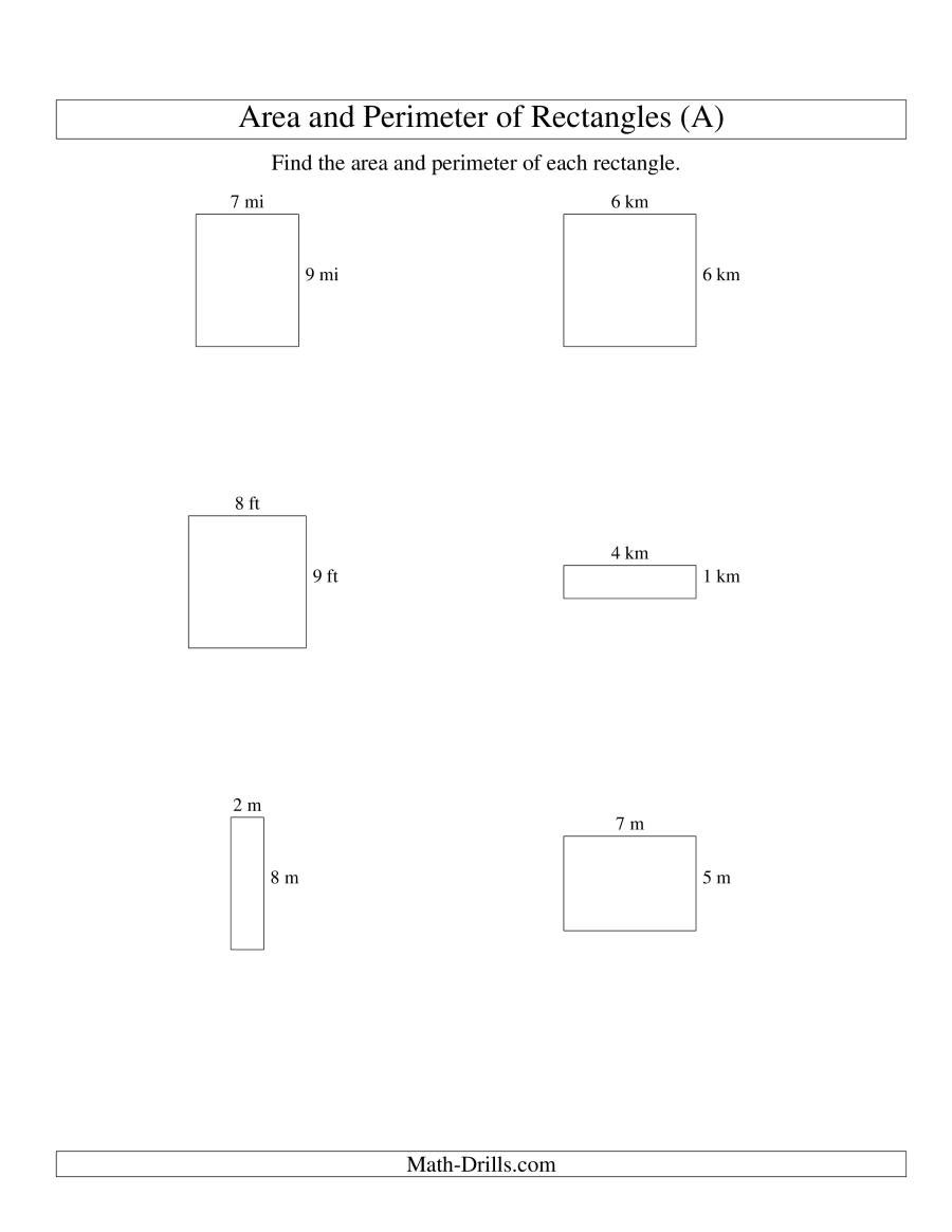 Perimeter Worksheets 3rd Grade Pdf area and Perimeter Of Rectangles whole Numbers Range 1 9 A