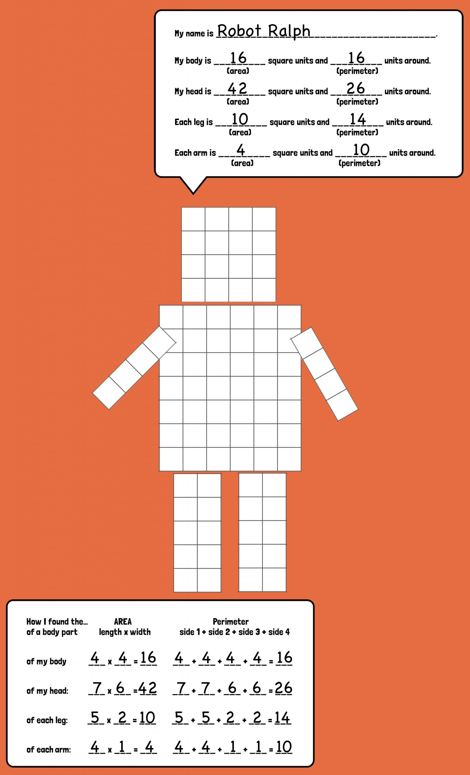 Perimeter Worksheets 3rd Grade Pdf area and Perimeter Robots