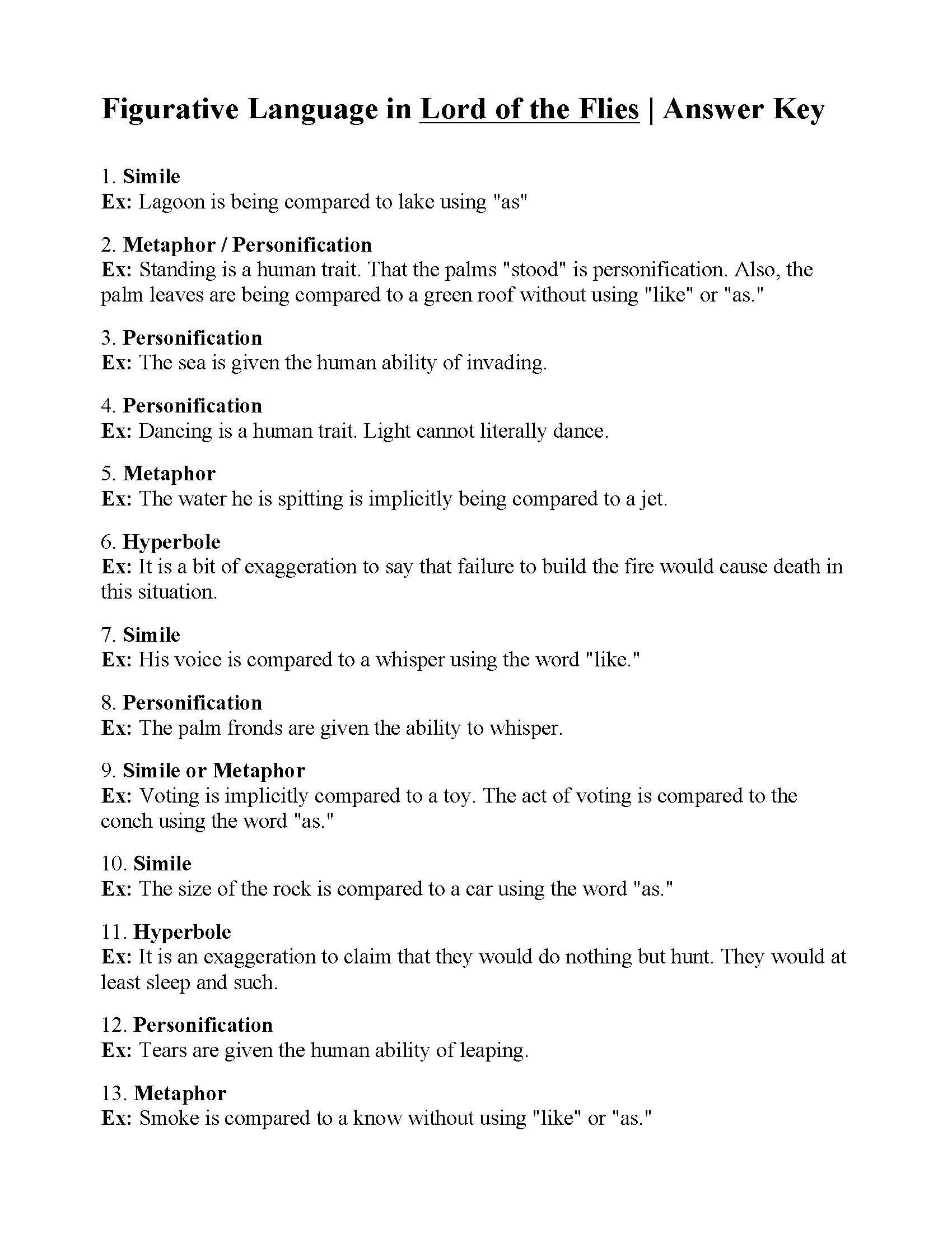 Personification Worksheets for Middle School Figurative Language Worksheet Lord Of the Flies