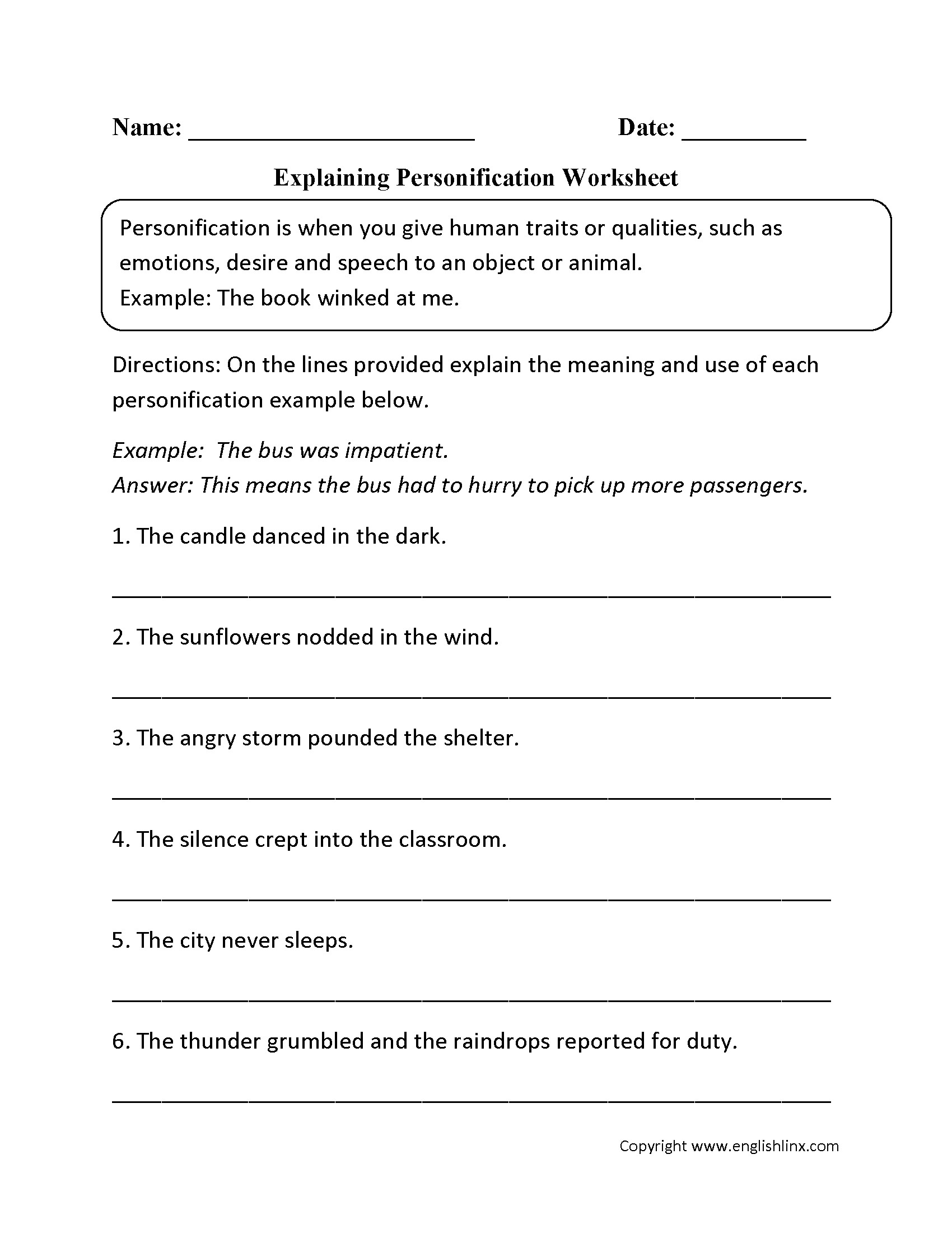 Personification Worksheets for Middle School Identify Figurative Language Worksheets