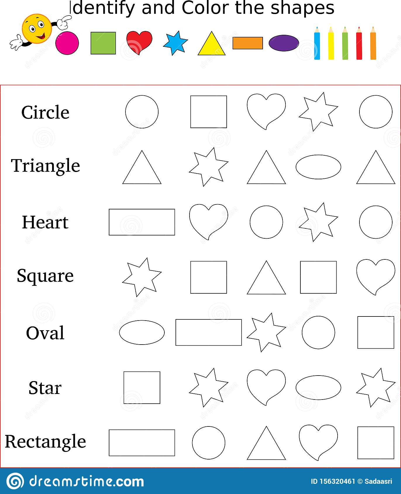 Polygon Worksheets for 2nd Grade Identify and Color the Correct Shape Worksheet Stock Image
