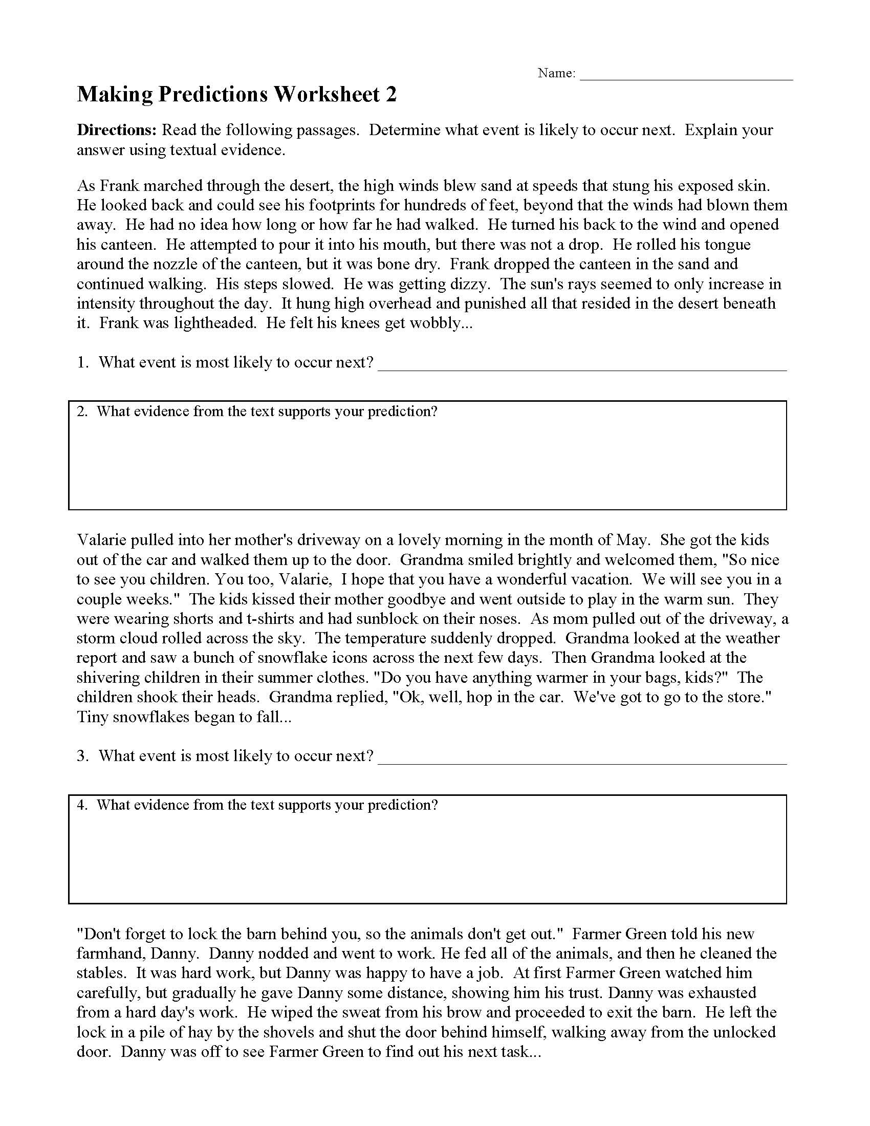Prediction Worksheets for 2nd Grade Making Predictions Worksheets and Lessons