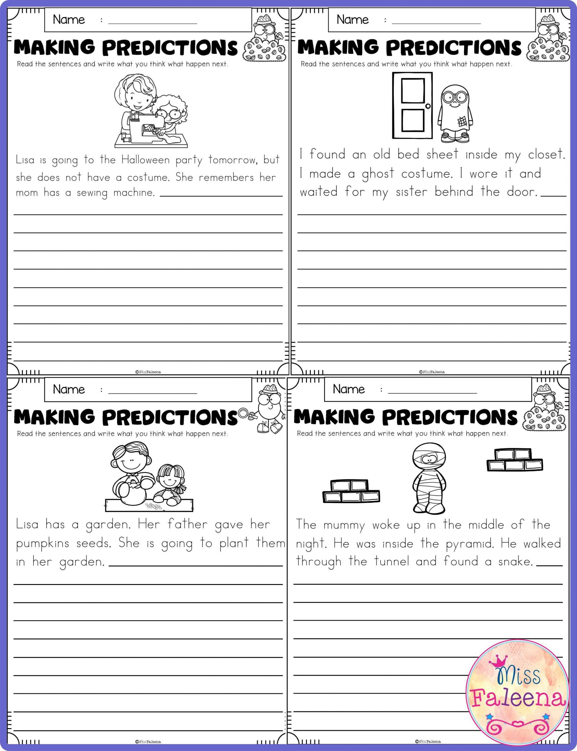 Prediction Worksheets for 2nd Grade October Making Predictions