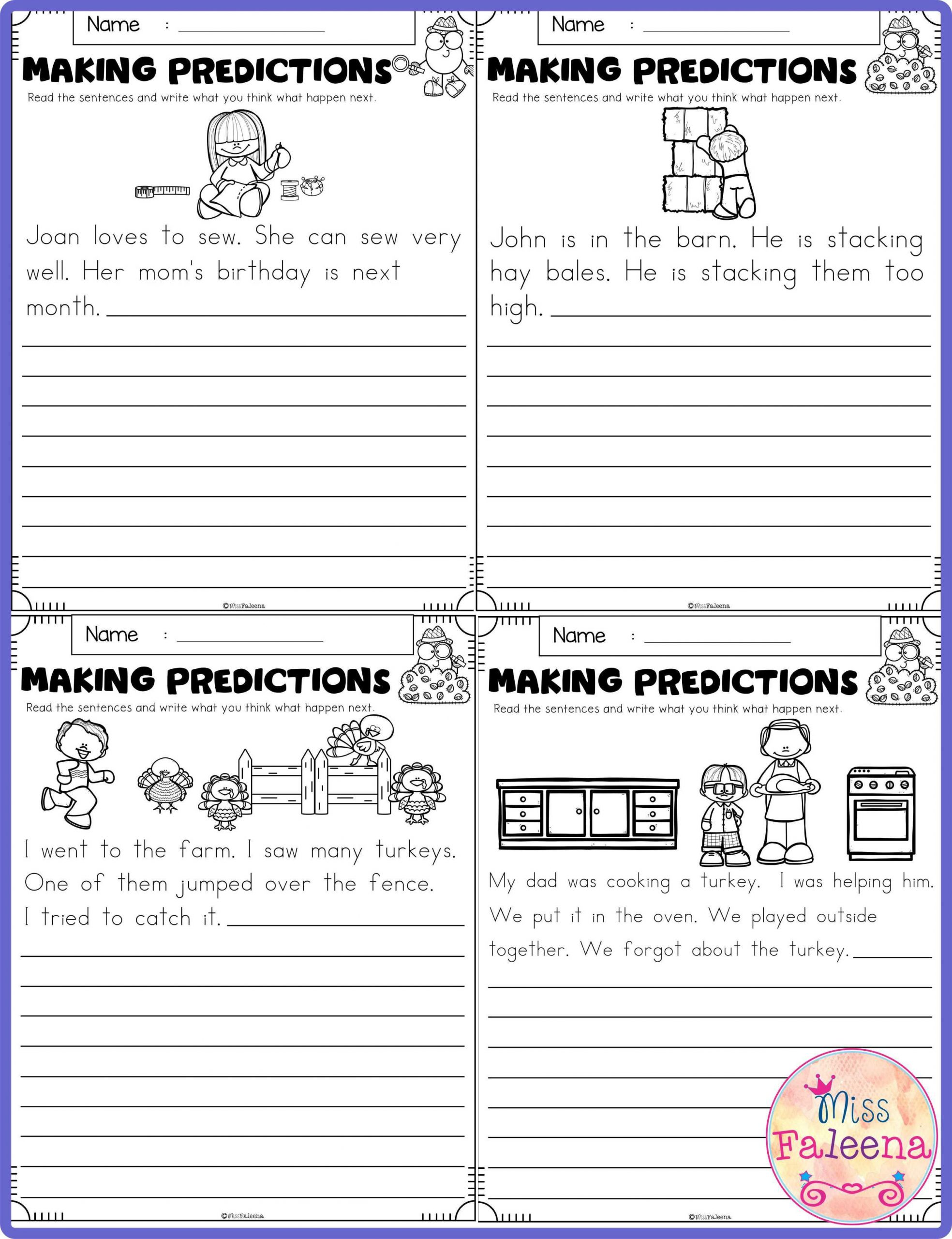Prediction Worksheets for 3rd Grade November Making Predictions Contains with total 30 Pages Of