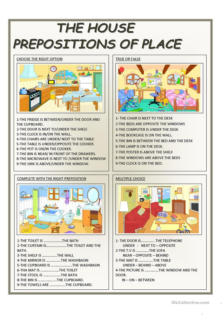 Preposition Worksheets for Middle School English Esl Prepositions Worksheets Most Ed 1055