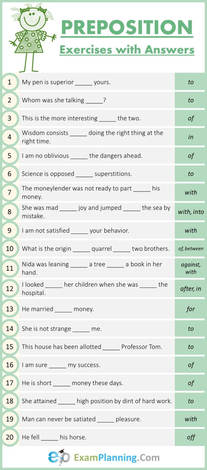 Preposition Worksheets for Middle School Mixed Preposition Exercises with Answers English Teaching
