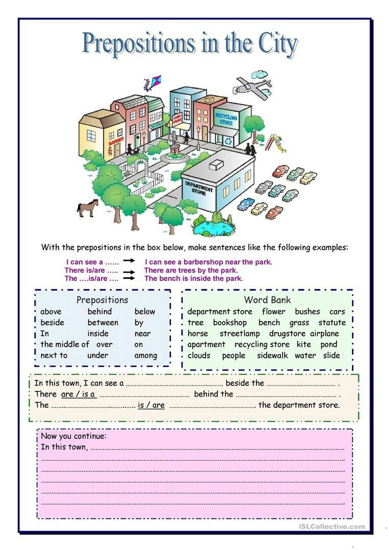 Preposition Worksheets for Middle School Prepositions In the City