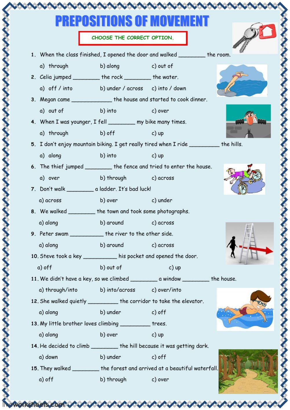 Preposition Worksheets for Middle School Prepositions Of Movement Interactive and Able