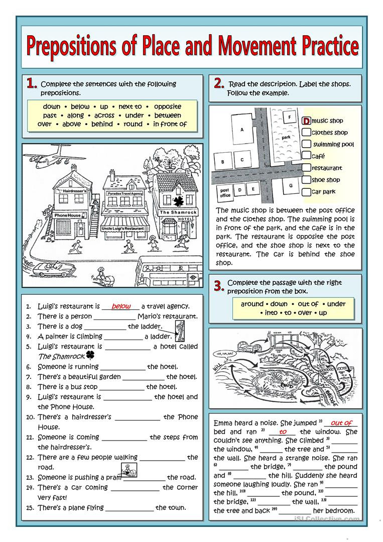 Preposition Worksheets for Middle School Prepositions Of Place and Movement Practice English Esl