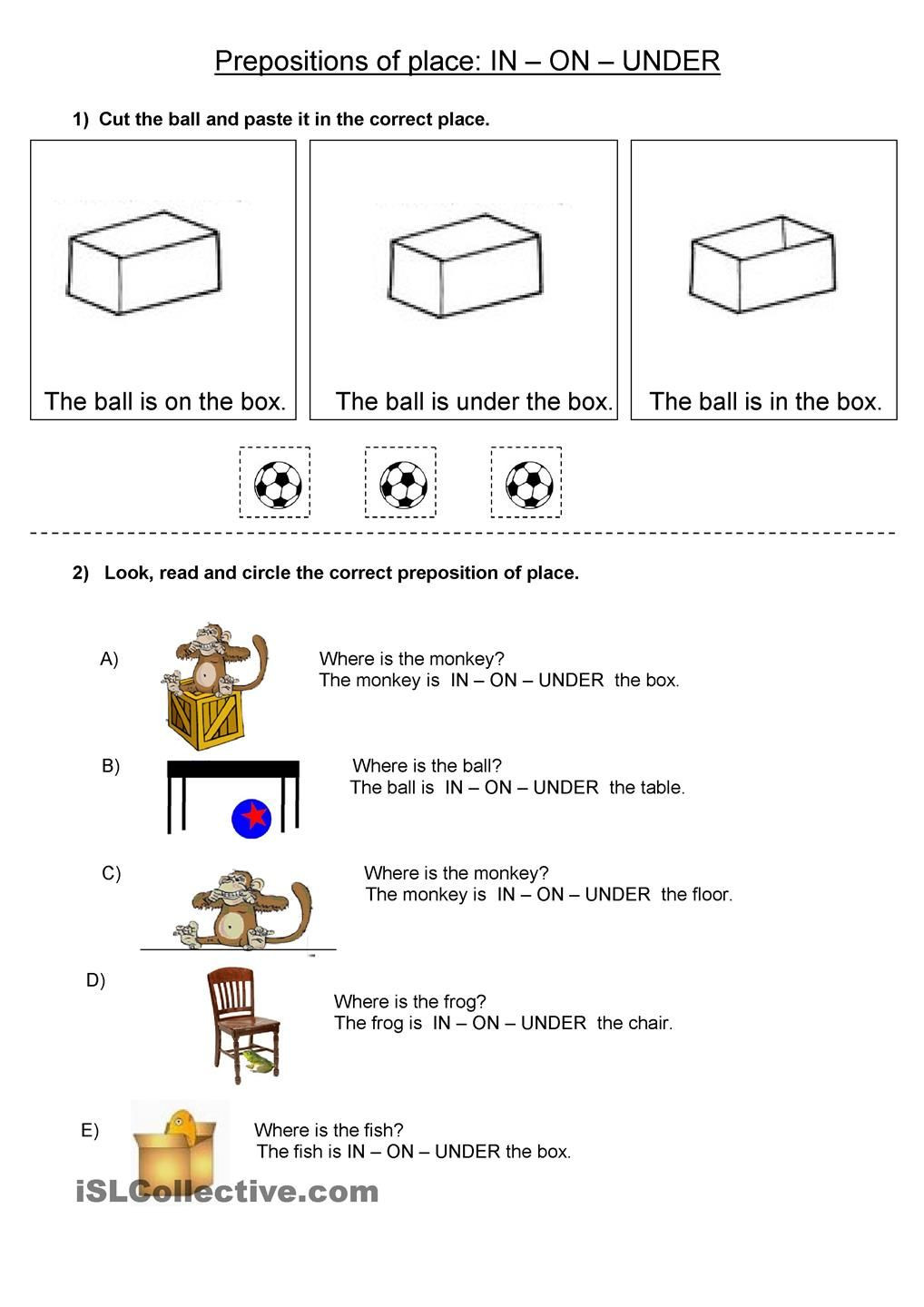 Preposition Worksheets for Middle School Prepositions Of Place In On Under