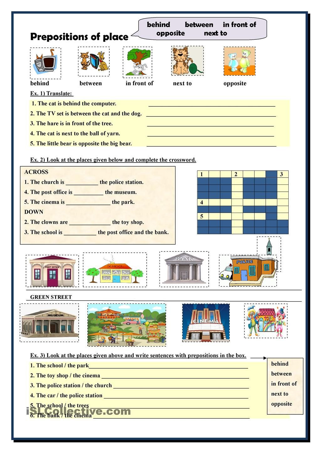 Preposition Worksheets for Middle School Prepositions Of Place
