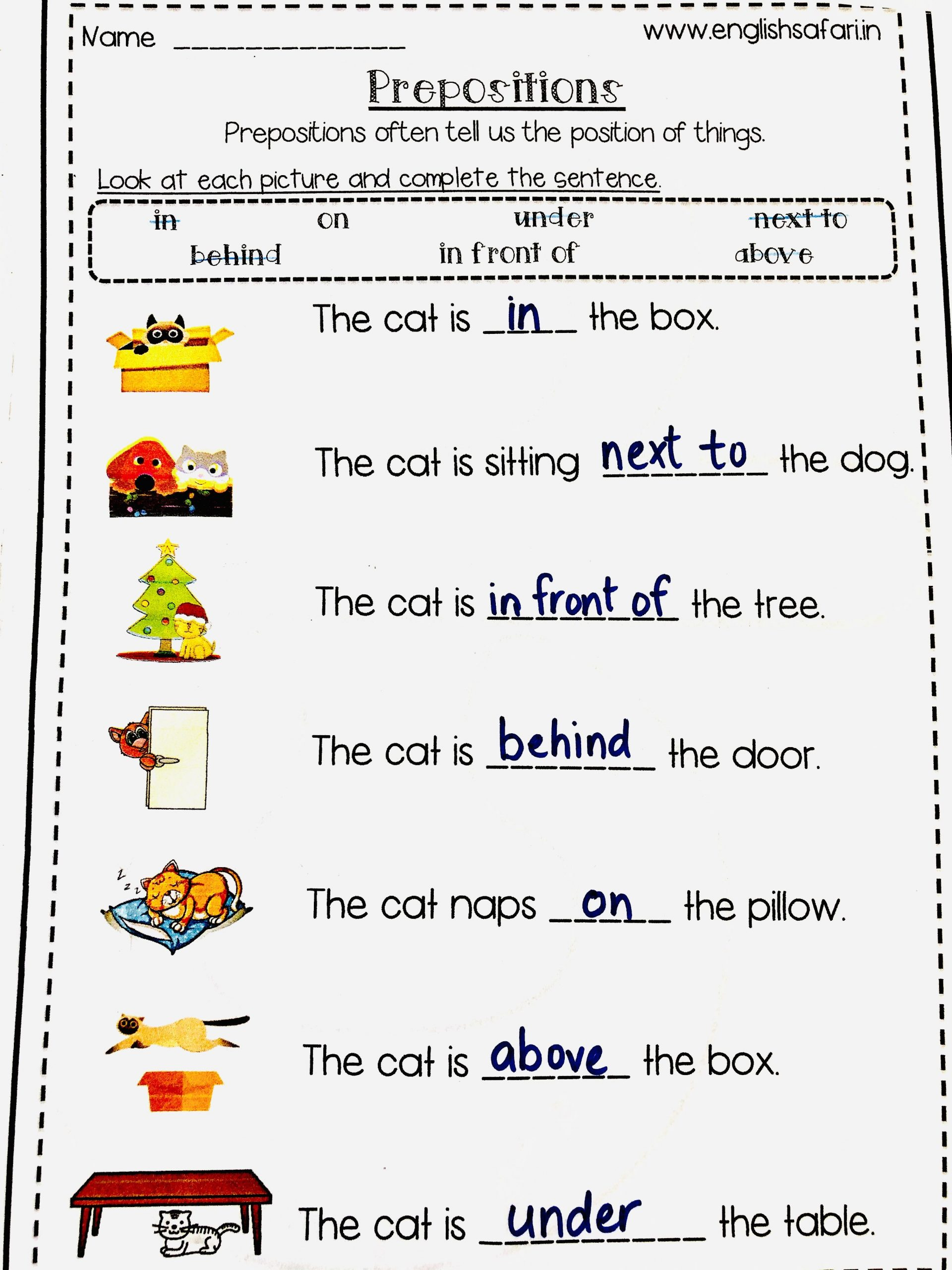 Preposition Worksheets for Middle School Second Grade Preposition Worksheets