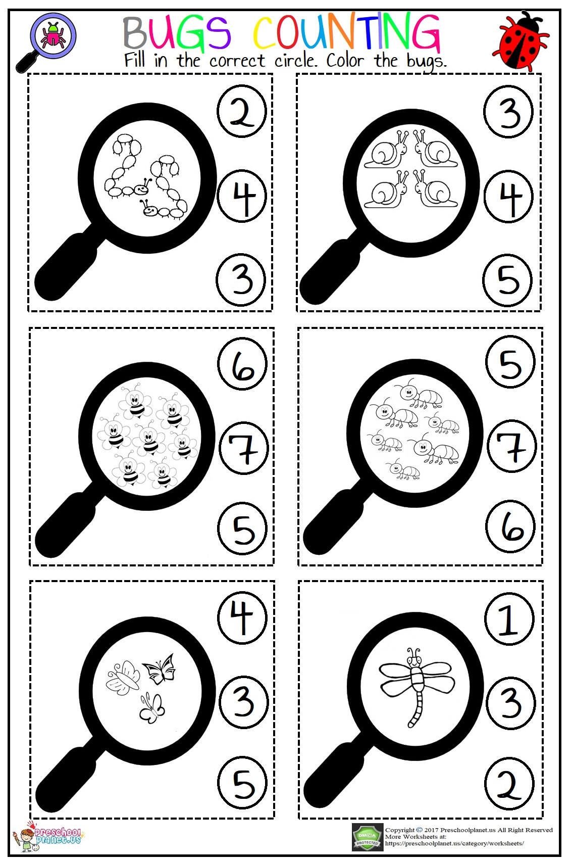 Preschool Bug Worksheets Bugs Counting Worksheet – Preschoolplanet