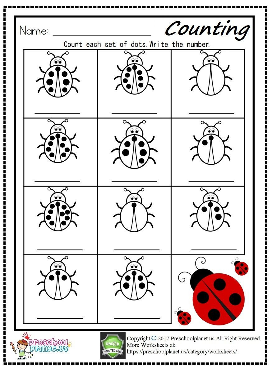 Preschool Bug Worksheets Counting Ladybug Worksheet Pdf and Printable for