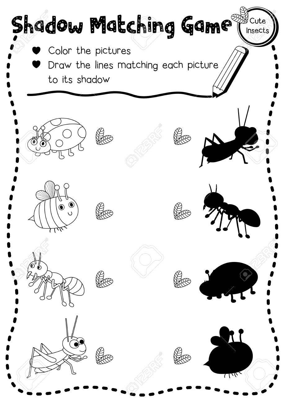 Preschool Bug Worksheets Shadow Matching Game Of Insect Bug Animals for Preschool Kids