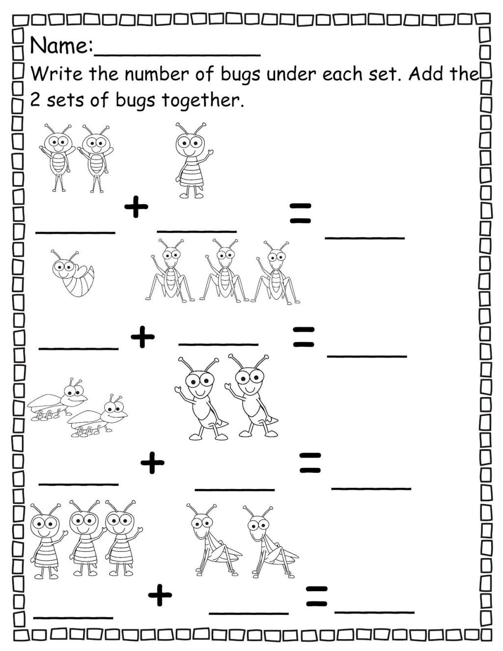 Preschool Bug Worksheets Worksheet Pre Kts Matht Inspirations Preschool to