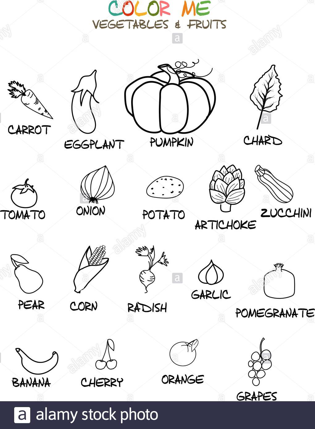 Preschool Fruits and Vegetables Worksheets Coloring Fruits and Ve Ables – Dialogueeurope