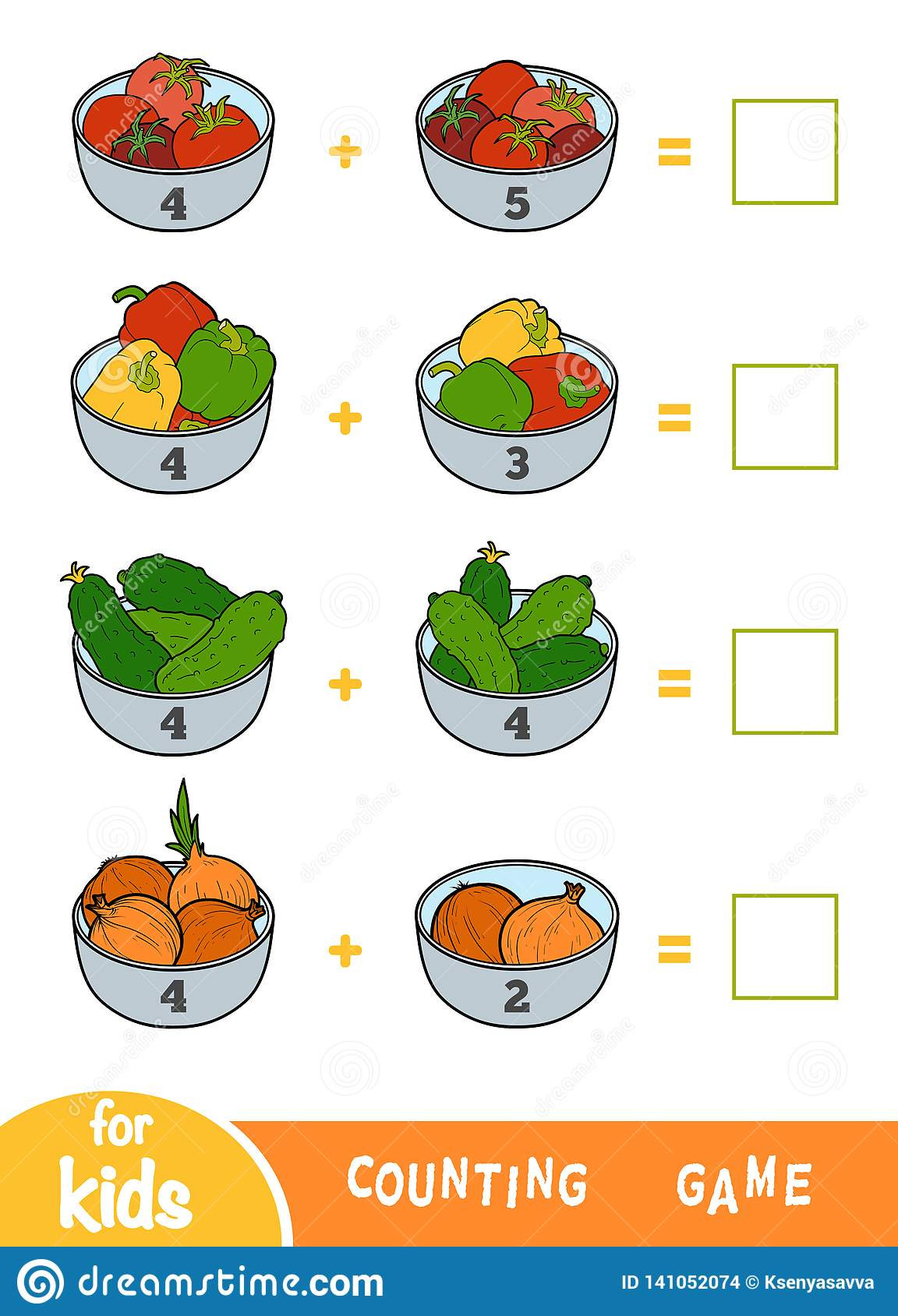 Preschool Fruits and Vegetables Worksheets Counting Game for Preschool Children Addition Worksheets