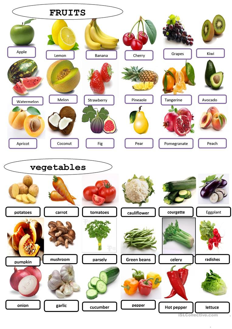 Preschool Fruits and Vegetables Worksheets English Esl Fruit and Ve Ables Worksheets Most