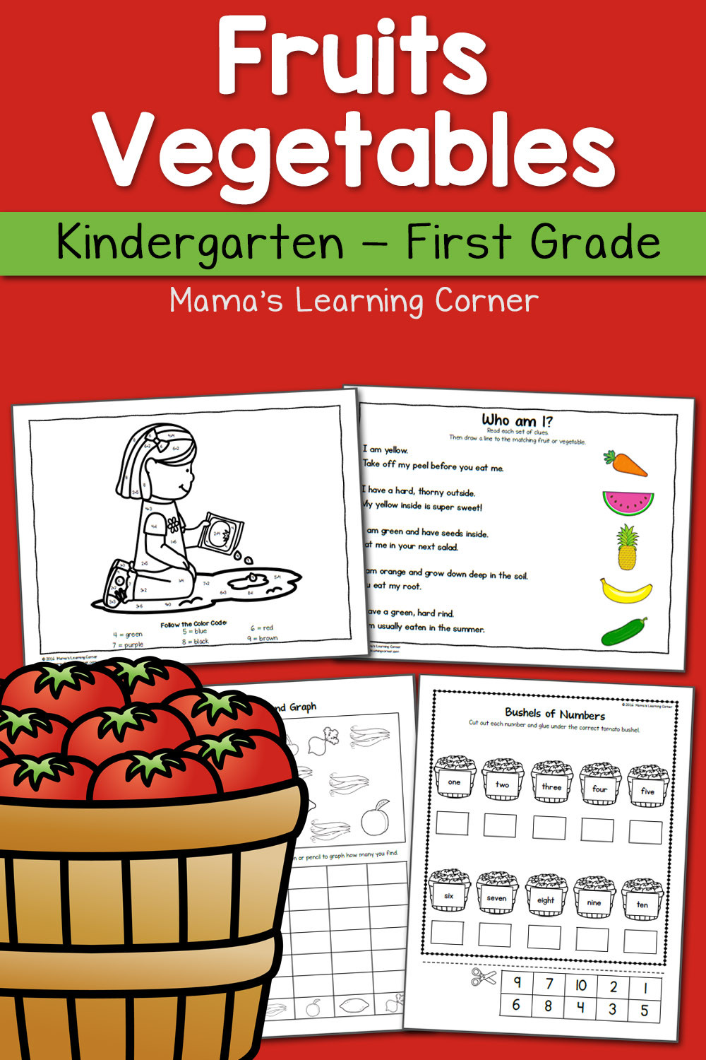 Preschool Fruits and Vegetables Worksheets Fruit and Ve Able Worksheets for Kindergarten and First