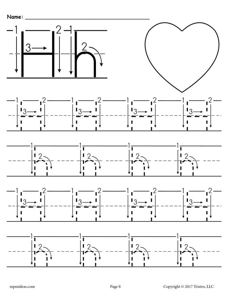 Preschool Letter H Worksheets Printable Letter H Tracing Worksheet with Number and Arrow