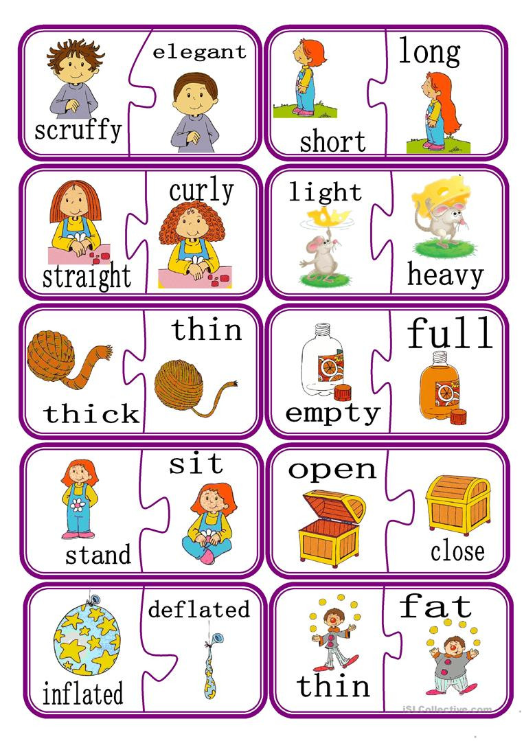 Preschool Opposites Worksheets English Esl Opposites Worksheets Most Ed 174 Results