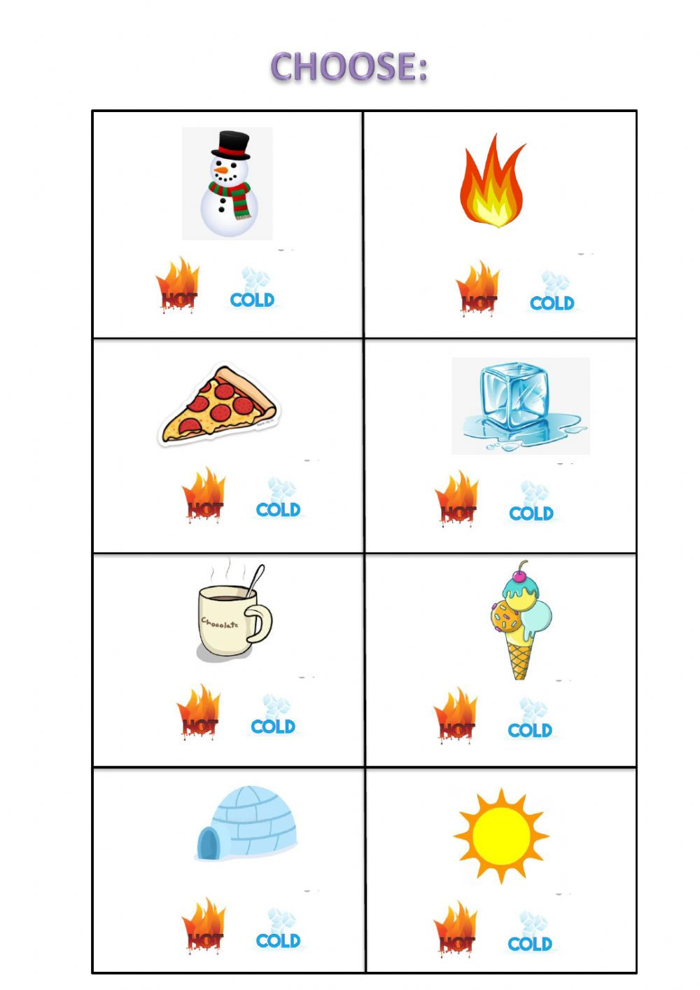 Preschool Opposites Worksheets Hot Cold Interactive Worksheet
