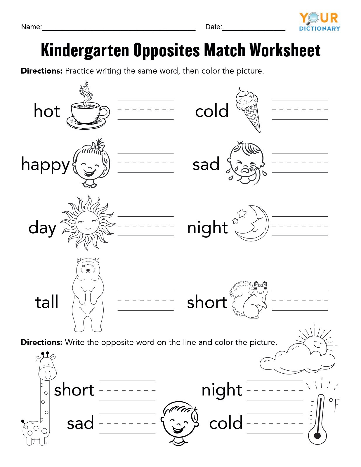 Preschool Opposites Worksheets Kindergarten Opposites Activities