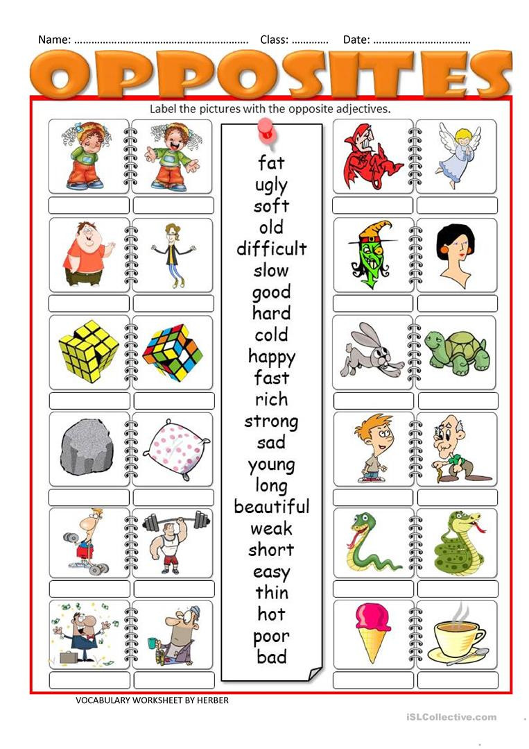 Preschool Opposites Worksheets Opposites Lessons Tes Teach