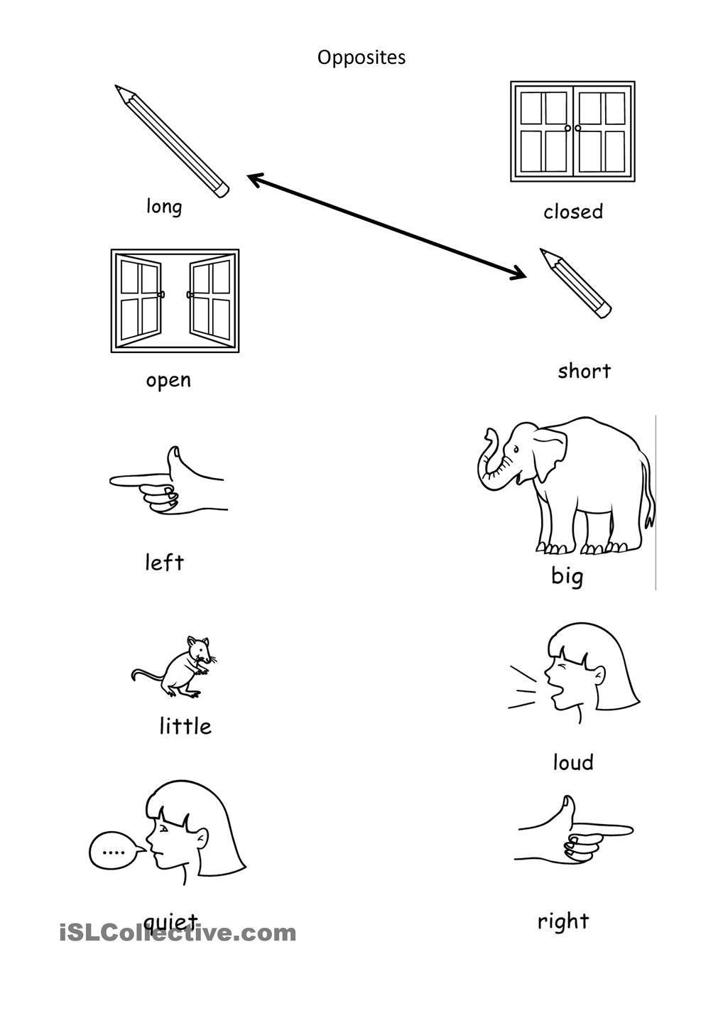 Preschool Opposites Worksheets Opposites