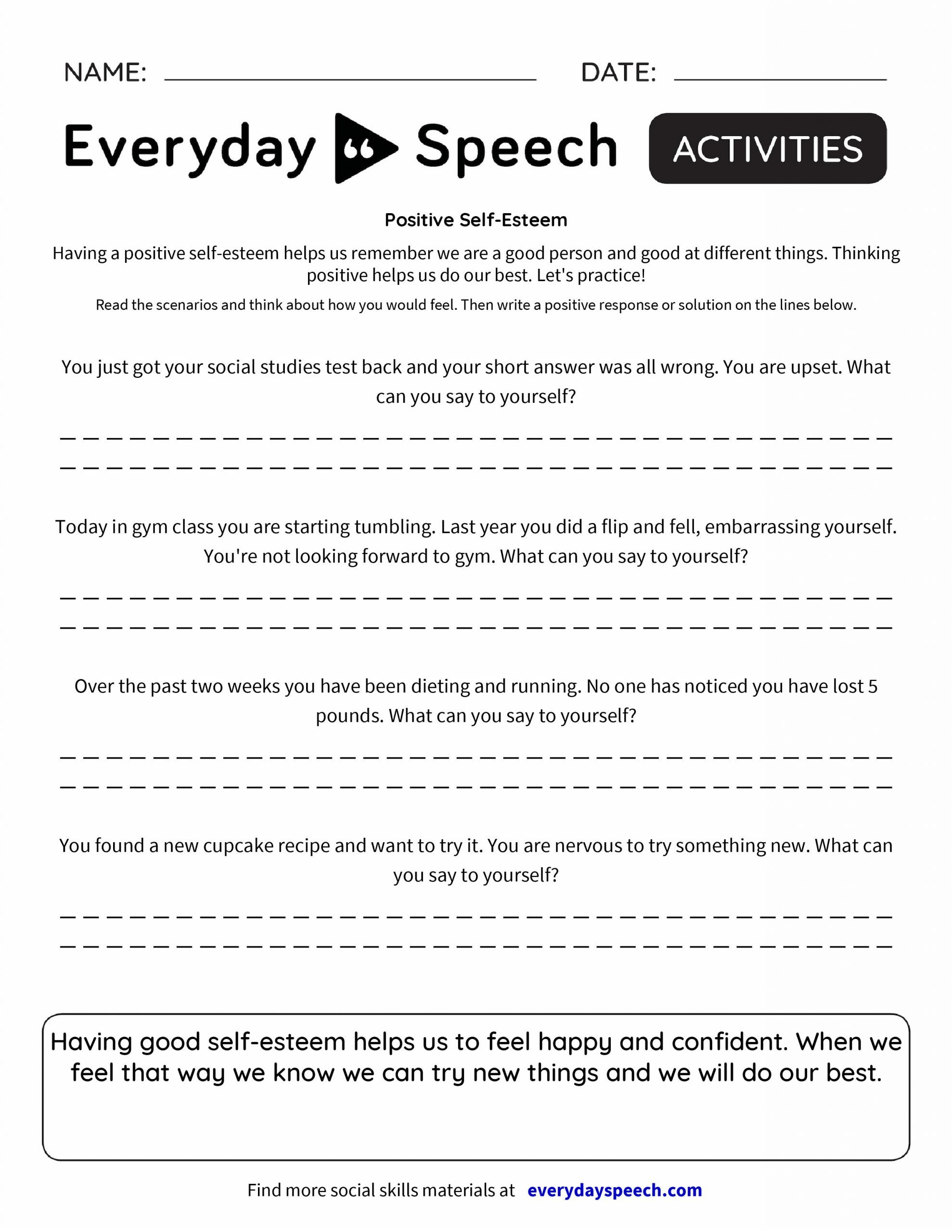 Printable Self Esteem Worksheets Self Esteem and Trauma Worksheet
