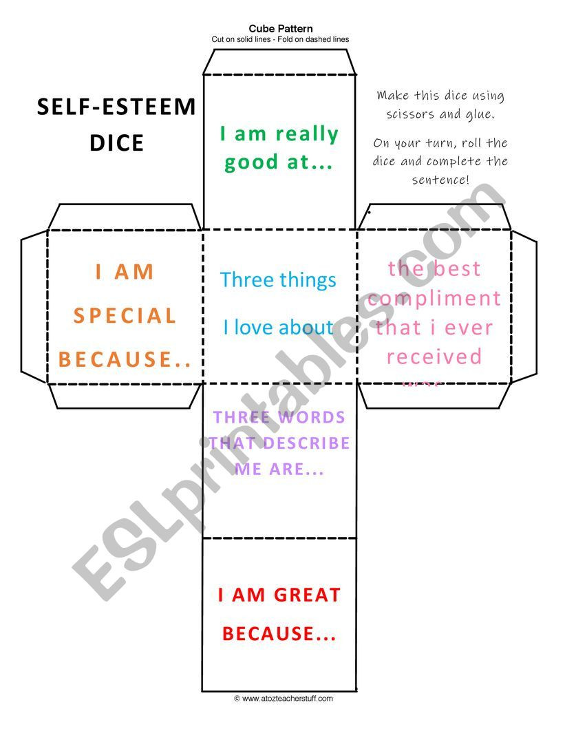 Printable Self Esteem Worksheets Self Esteem Dice Esl Worksheet by toriw