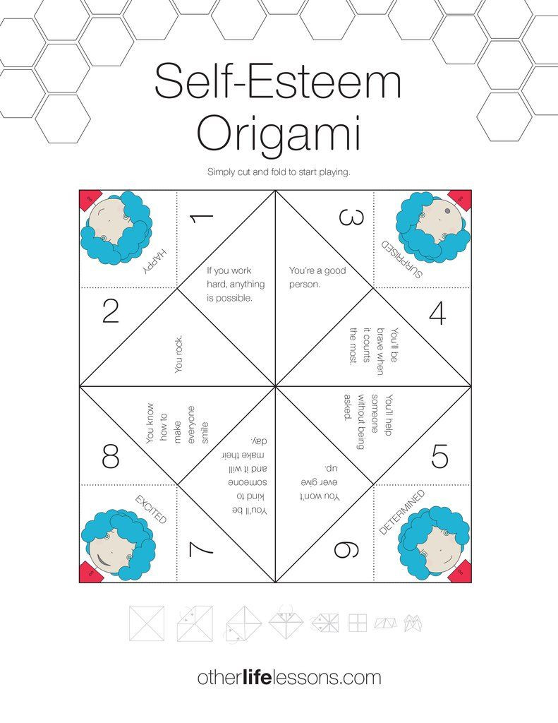 Printable Self Esteem Worksheets Self Esteem origami Game Free Printable