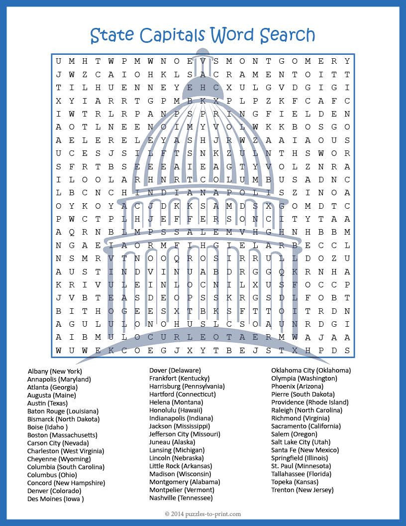 Printable State Capital Quiz Us Geography Worksheet State Capitals Word Search Fun